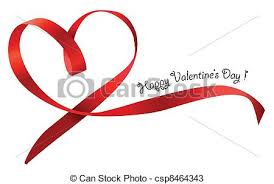 heart ribbon heart ribbon bow isolated on white background vector