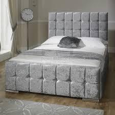 renata cube crushed velvet fabric upholstered bed frame