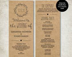 classic wedding programs wedding programs etsy