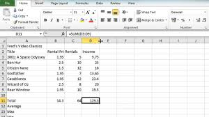 excel 2010 tutorial for beginners 10 excel 2010 tutorial for beginners 4 autosum function microsoft