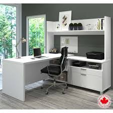 White L Shaped Desk With Hutch by Bestar Columbia White L Shape Workstation