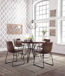 centiar round dining room table u0026 4 uph side chairs d372 15 01 4