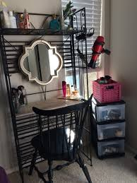 Bakers Rack Console Diy Vanity Small Space Solution A Vanity Out Of A Reclaimed