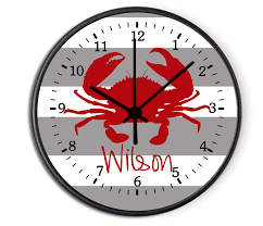personalized picture clocks custom nautical crab personalized decorative kitchen wall clock