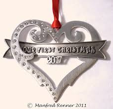amazon com our first christmas ornament brushed pewter with