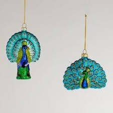 blown glass peacock ornament republic 2 1 2