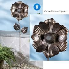 metal flower garden stakes flower wireless bluetooth speaker garden stake