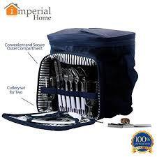 Imperial Home Decor Group Amazon Com Blue Insulated Picnic Basket Lunch Tote Cooler