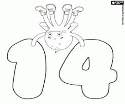 pypus over the number fourteen coloring page printable game