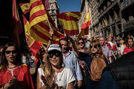 i am spanish u0027 thousands in barcelona protest a push for