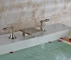 Bathroom Sink Handles Brushed Long Dual Handle Bathroom Sink Waterfall Faucet