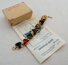 authentic sandwich glass jewelry bracelet with multi color glass
