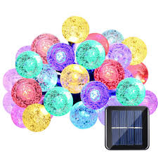 multi color 30 led crystal ball string lights solar powered