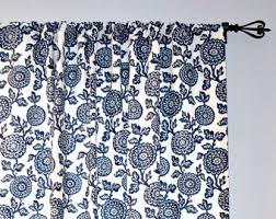 blue floral curtains etsy