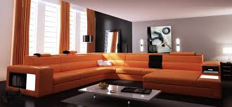 orange leather sectional sofa leather sectional sofa couch vig furniture vgev5022 sectionals