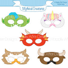 Halloween Printable Masks Templates by Mythical Creatures Printable Masks Unicorn Dragon Mask