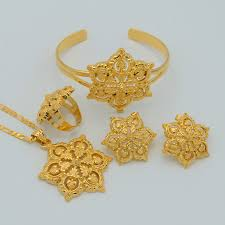 arabian earrings anniyo flowers set jewelry women gold color pendant necklace