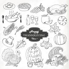 sketch doodle thanksgiving icon set draw vector illustration