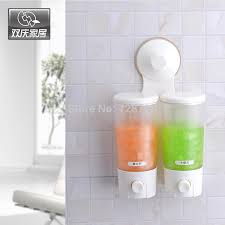 Bathroom Cup Dispenser Wall Mount Cup Wall Mounted Double Hand Liquid Soap Dispenser Holder Shower