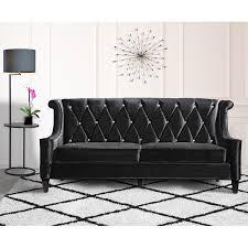 Modern Black Sofas Armen Living Barrister Modern Black Velvet Sofa With