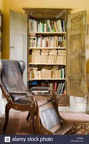 Armchair Books Antique Wooden Wingback Armchair With Leather Upholstery And
