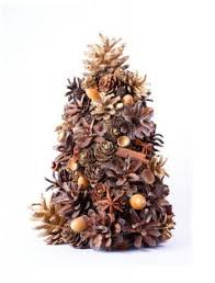 christmas tree decoration made from natural cones cinnamon