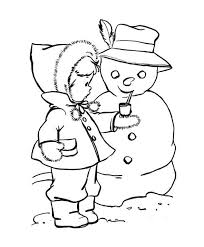 download coloring pages winter cute kid putting a pipe on snowman