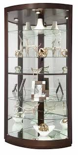 Curio Cabinet With Glass Doors 680603 Howard Miller Espresso Finish Curved Glass Doors Corner
