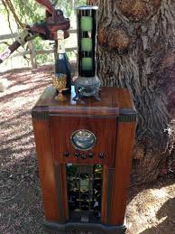 under cabinet radio with light wine bar recreated from an antique stereo cabinet for the