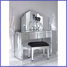 glass vanity dressing table with three fold mirror and glass based
