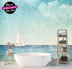 vintage background sailboat blue wallpaper wall art decor