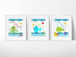 Kids Bathroom Decor Sets Kids Bathroom Art Sea Creature Bathroom Print Set Under The