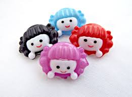 red hair 25 buttons novelty buttons red and cream