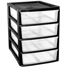 Drawer Storage Units A4 4drawer Plastic Storage Unit Black Homes Office Bedroom