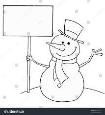 black white coloring outline snowman stock vector 52544113