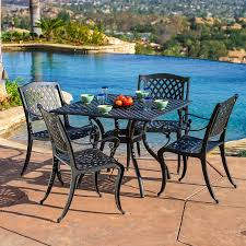Cast Aluminum Patio Chairs Shop Best Selling Home Decor Hallandale 5 Black Metal Frame