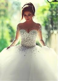 wedding dress with bling luxurious tulle neckline gown wedding dress with