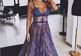 2017 sheer purple evening dress lace v neck prom gowns with