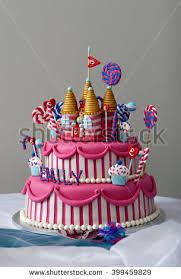 fancy birthday cake candyland theme three stock photo 399459829