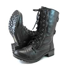 womens combat boots combat mid calf motorcycle lace up boots zipper