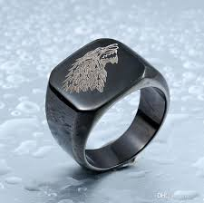 mens engagements rings images Classic stainless steel men movie style game of thrones fashion jpg