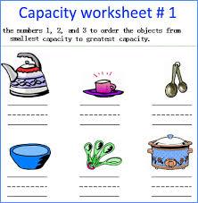capacity worksheets measurement worksheets kindergarten math