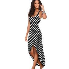 2017 sleeveless long maxi dress female white black striped