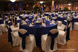 navy blue table linens white chair covers with midnight blue taffeta sashes wedding ideas