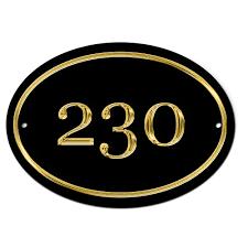 house name door number black gold effect plate plaque sign