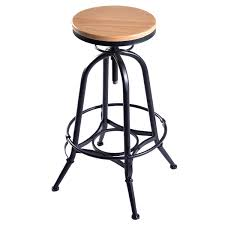 Adjustable Bar Stools Vintage Bar Stool Metal Frame Wood Top Adjustable Height Swivel