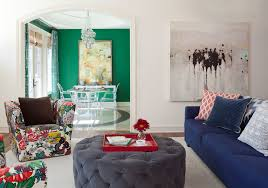 round tufted ottoman living room transitional with blue walls