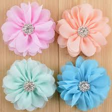 flowers for headbands aliexpress buy 2 8 chiffon fabric flower rhinestone center