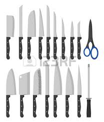 kinds of kitchen knives different types of kitchen knives vectors set royalty free