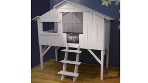 chambre cabane enfant lit enfant style cabane en bois laqué 90x190 cm mobilier moss
